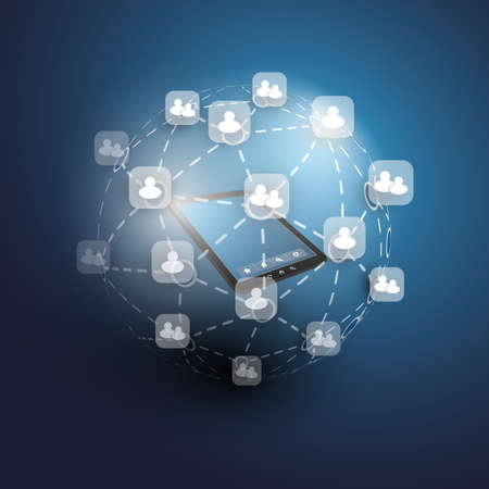 Global or Social Networks - for Your Business Illustration