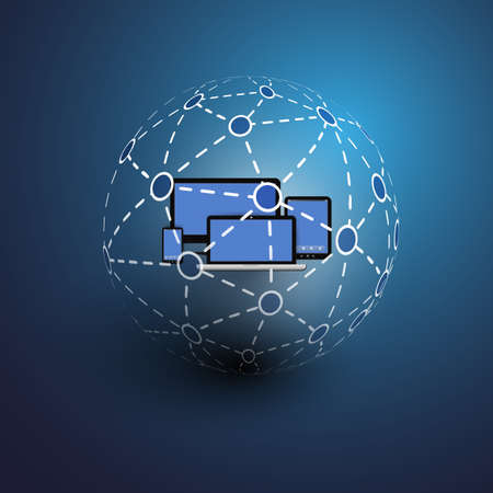 connected world: Global or Social Networks - for Your Business Illustration