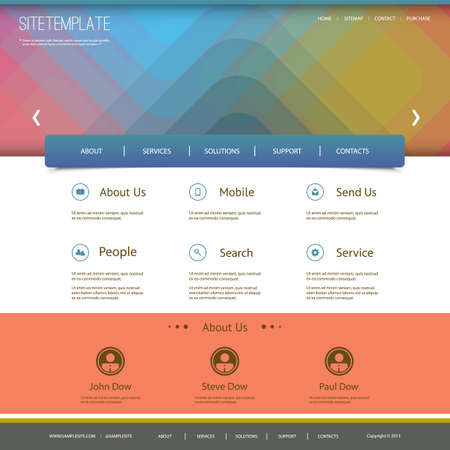 Website Template with Abstract Header Design - Squares Vector