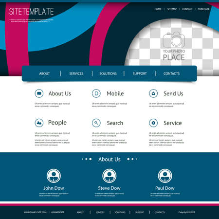 Website Template with Abstract Pattern and Place for Photo Vector