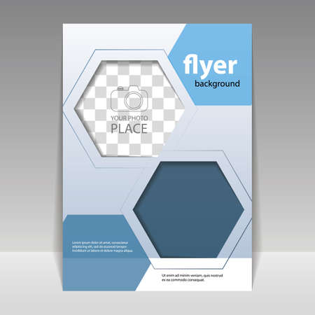 Business or Corporate Flyer Design Template with Hexagonal Pattern Vector