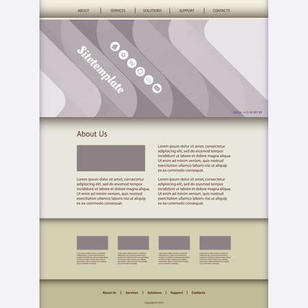 Website Template with Abstract Header Design - Curves Vector