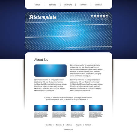 Website Template with Abstract Header Design - Waves and Lines Vector