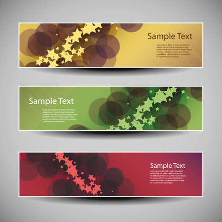 Banner or Header Designs with Abstract Colorful Pattern - Stars and Bubbles Vector