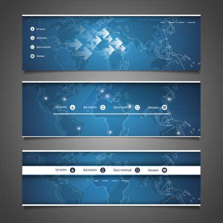 Web Design Elements - Header Designs with World Map Vector