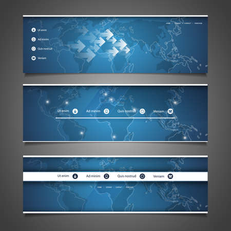 website header: Web Design Elements - Header Designs with World Map