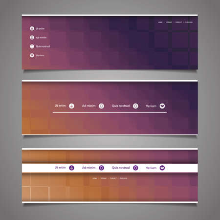 Web Design Elements - Abstract Header Designs Vector