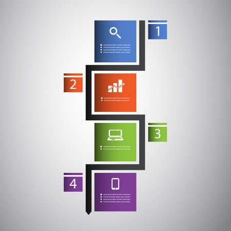 Infographic Concept - Colorful Flow Chart Design Illustration