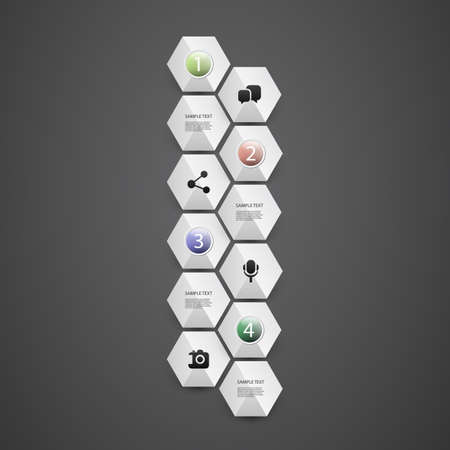 Infographic Concept with Hexagons - Flow Chart, Timeline Vector