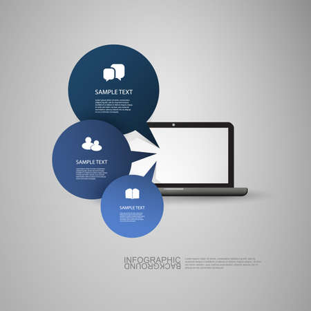 Speech Bubbles as Infographic Charts in Front of a Laptop Vector