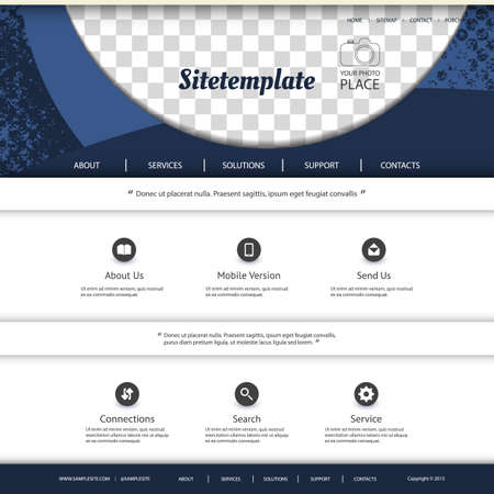 grungy header: Website Template with Abstract Pattern Design and Place for Your Photo Illustration