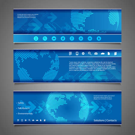 Web Design Elements - Abstract Header Designs with Dotted Earth Globe Vector