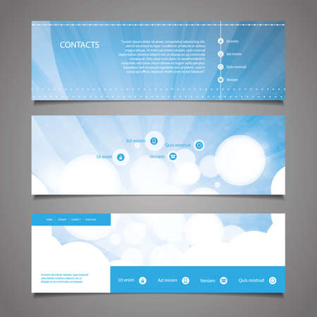 submenu: Web Design Elements - Blue and White Abstract Header Designs with Bubbles