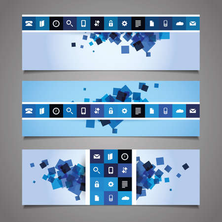 Web Design Elements - Blue Abstract Header Designs with Tiles Vector