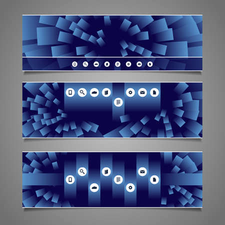 Web Design Elements - Blue Abstract Header Designs with Squares  Vector