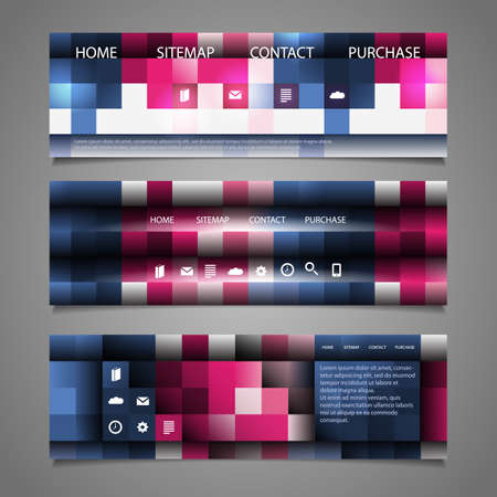 submenu: Web Design Elements - Abstract Header Designs with Colorful Checkered Pattern