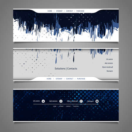 Web Design Elements - Abstract Header Designs with Grungy Pattern