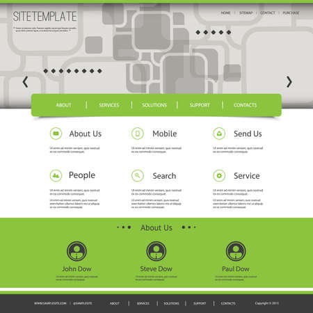 Website Template with Abstract Header Design - Squares Pattern