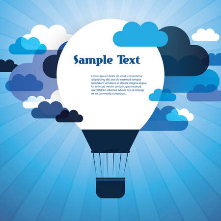 Air Balloon Background with Clouds Vector