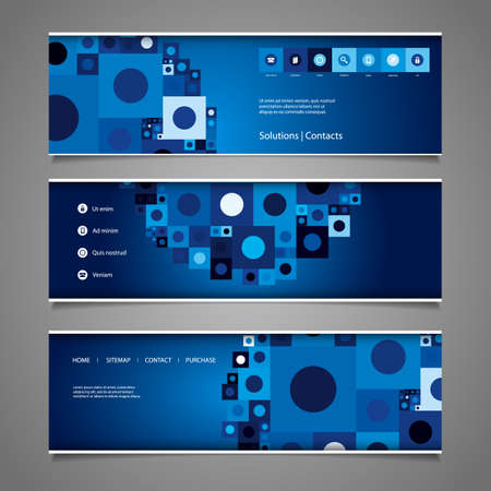 Web Design Elements - Abstract Retro Styled Header Designs with Tiles Vector
