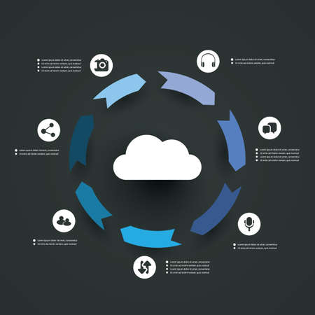 Cloud Computing Concept - Infographic Design Vector