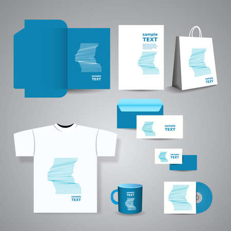 Stationery Tempate, Corporate Image Design with Face Silhouettes Vector