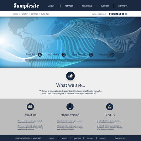 Website Template with World Map and Wavy Lines Pattern Vector