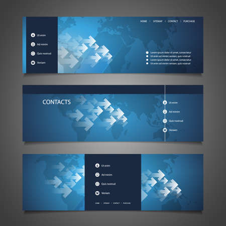 blue buttons: Web Design Elements - Header Design with World Map