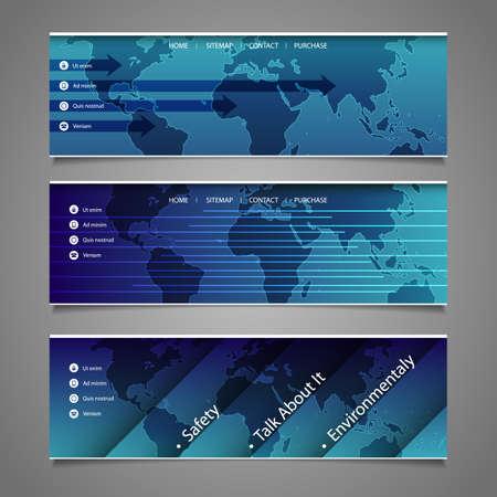 submenu: Web Design Elements - Header Designs with World Map