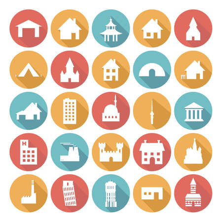 Colorful Flat Icon Designs - Buildings Vector