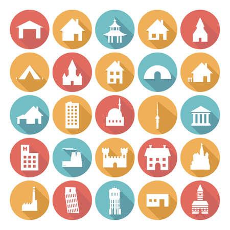 Coloridos diseños de iconos planos - Edificios