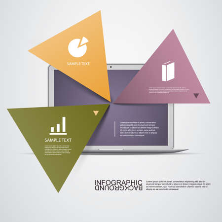 Triangular Light Colored Text Boxes with Laptop Computer - Template for Workflow Layout, Diagram, Chart, Web Design Vector