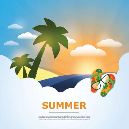 Summer Background - Beach, Sunshine, Palm, Sand, Sunglasses and Flip Flops Vector