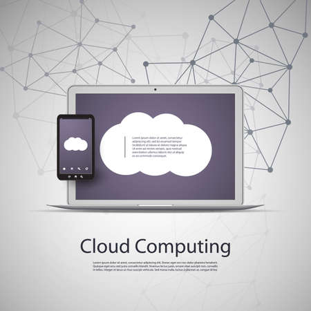 Cloud Computing and Networks Concept with Laptop Computer and Smartphone