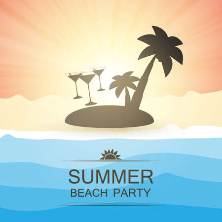 summer beach party: Summer Beach Party Background - Beach, Sunshine, Sand and an Island with Palms Illustration