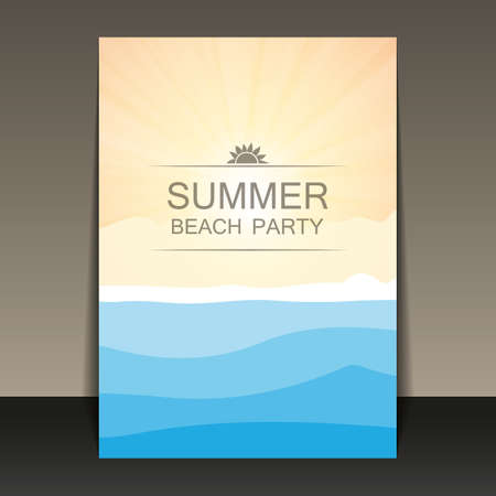 party time: Abstract Summer Party Flyer, Card or Cover Template - Vector Design Concept