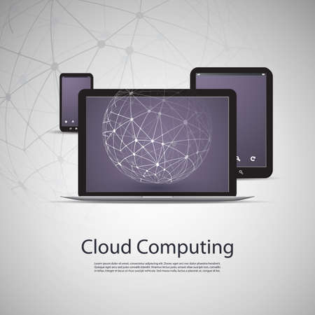 Cloud Computing and Networks Concept with Laptop Computer, Tablet and Smartphone Vector