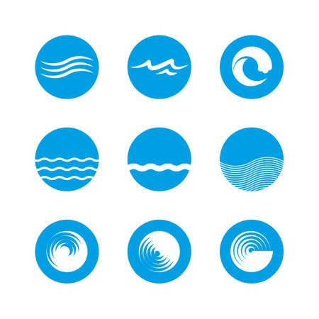 파도 아이콘을 설정 - 바다, 바다, 해변 일러스트