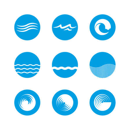 blue wave: Waves Icon Set - Ocean, Sea, Beach