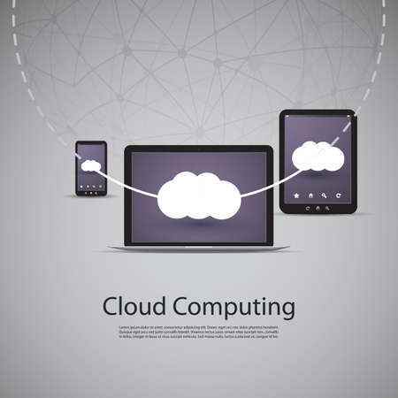 endpoint: Cloud Computing and Networks Concept with Laptop Computer, Tablet and Smartphone Illustration