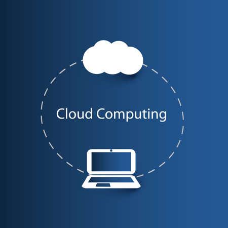 Cloud Computing Concept with Laptop Computer Design Vector