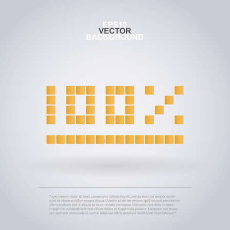 100 Percent Icon Design Made of Squares for Infographics Vector