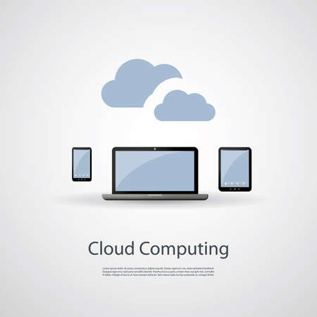it tech: Cloud Computing and Networks Concept with Laptop Computer, Tablet and Smartphone Illustration