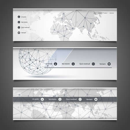 globe grid: Web Design Elements - Header Design - Networks Illustration