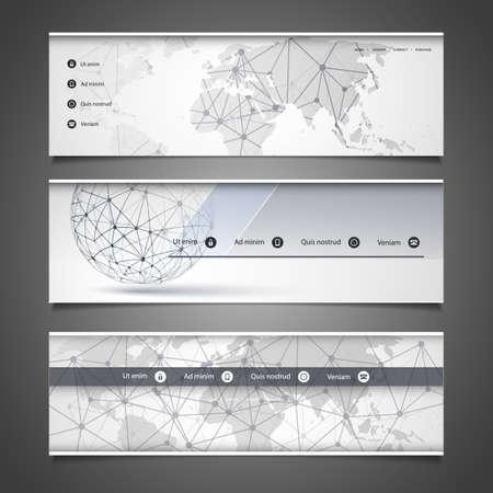Web Design Elements - Header Design - Networks Illustration
