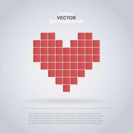 Pixel Heart - Icon Design for Infographics, Websites or Advertisement Vector