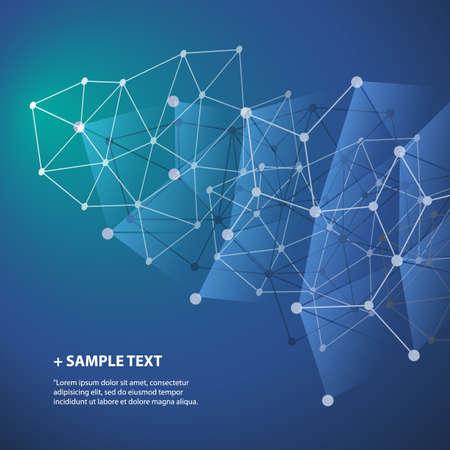 globális üzleti: Connections - Molekuláris, Global, Business Network Design - Abstract Mesh háttér Illusztráció