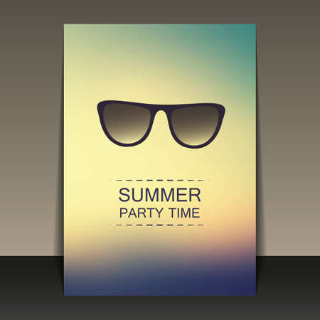 party time: Summer Party Flyer, Card or Cover Template - Vector Design Concept Illustration