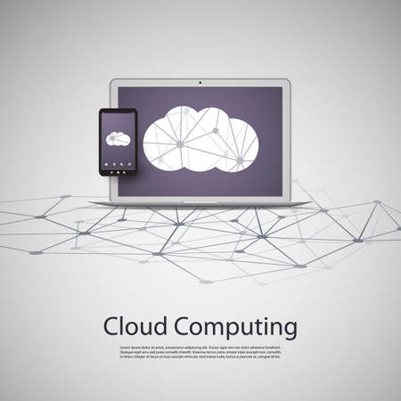 Cloud Computing and Networks Concept with Laptop Computer and Smartphone Vector