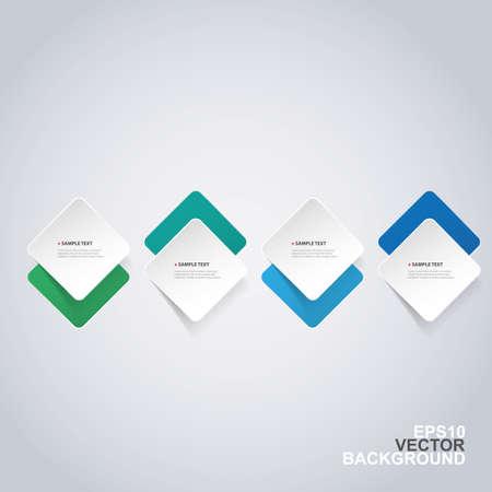 Minimal Paper Cut Infographics Design - Round Squares Illustration